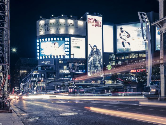 bright, building, busy, canada, city, color, colorful, dark, downtown, image, life, light, lights, night, ontario, people, road, rock, scene, square, street, toronto, traffic, urban, yonge