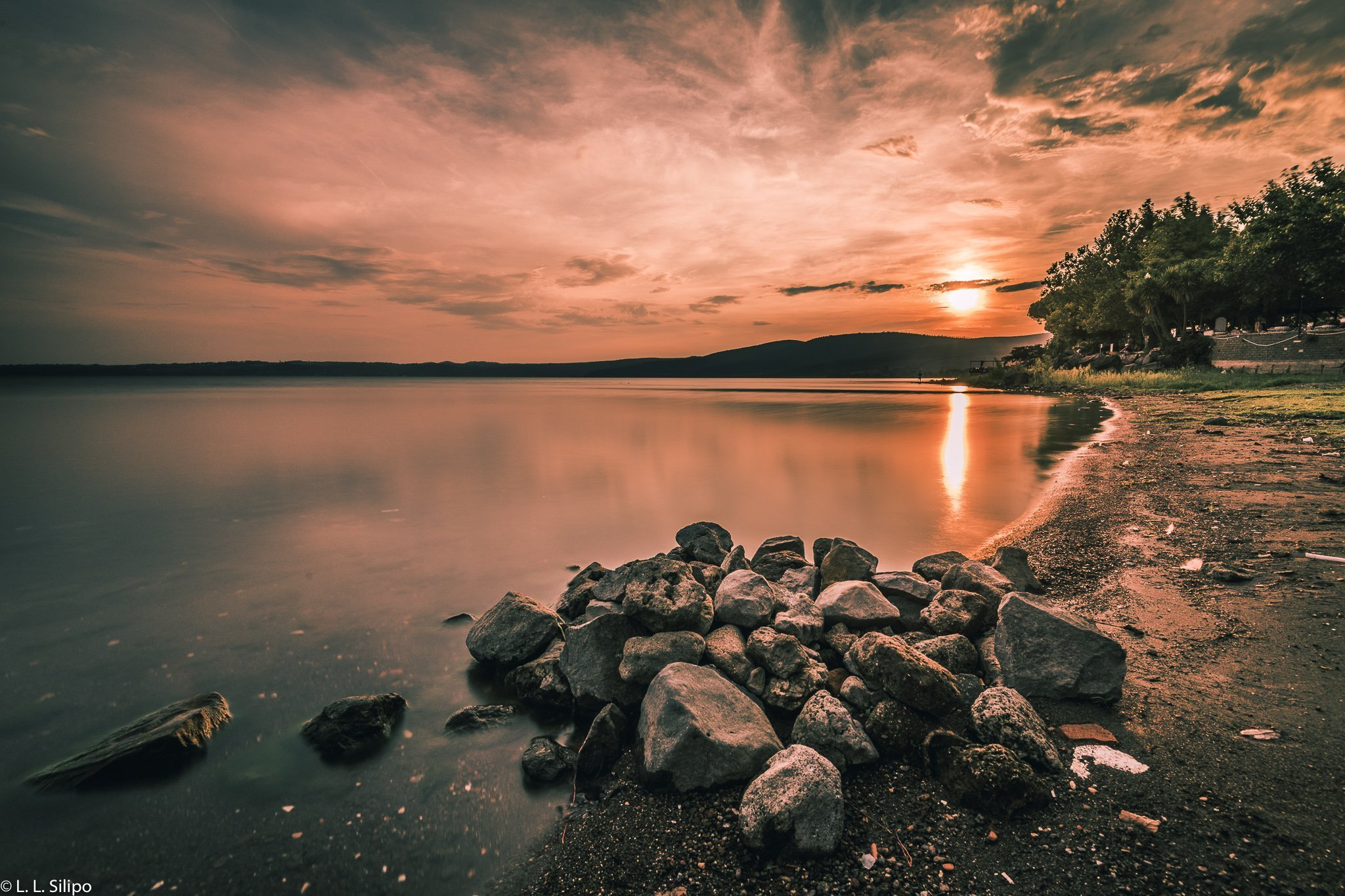 beach, beautiful, blue, bracciano, cloud, clouds, coast, dusk, evening, horizon, illustrative, italy, lake, landscape, nature, outdoor, reflection, rock, scenic, sky, stone, summer, sun, sunlight, sunset, travel, vacation, water, wilderness
