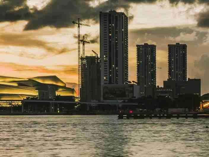 architecture, bay, biscayne, blue, brickell, bridge, buildings, causeway, city, cityscape, colorful, downtown, dusk, florida, landmark, miami, night, office, panorama, reflection, skyline, skyscraper, sunset, urban, usa, venetian, water